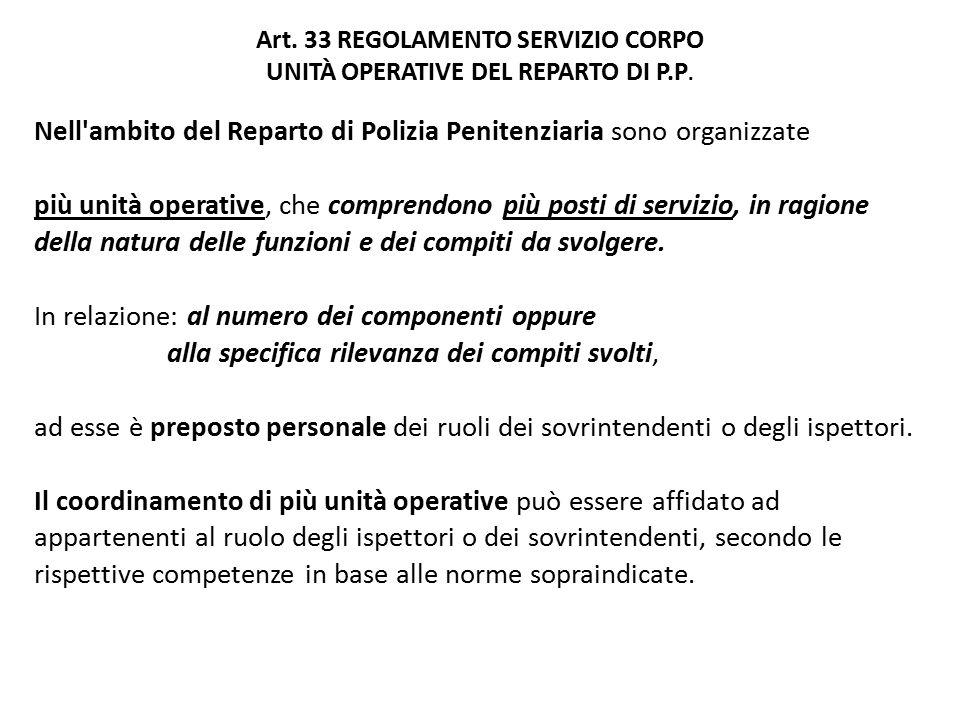 Art.33 REGOLAMENTO SERVIZIO CORPO UNITÀ OPERATIVE DEL REPARTO DI P.P.