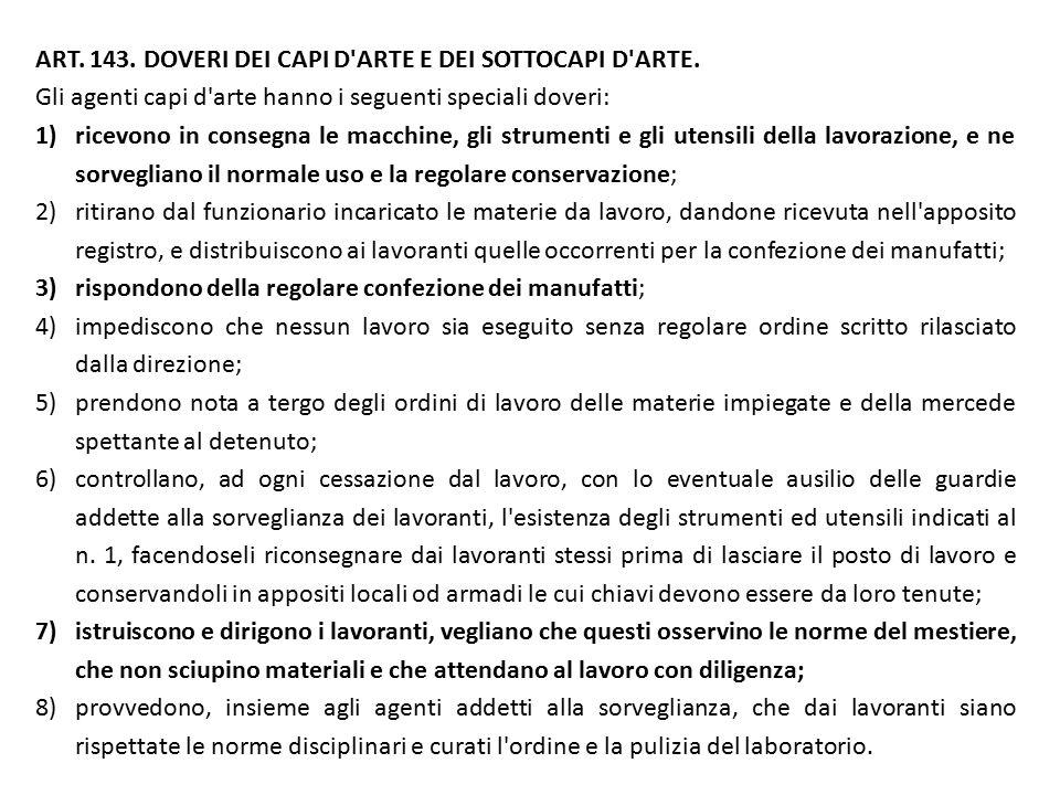 ART.143. DOVERI DEI CAPI D ARTE E DEI SOTTOCAPI D ARTE.