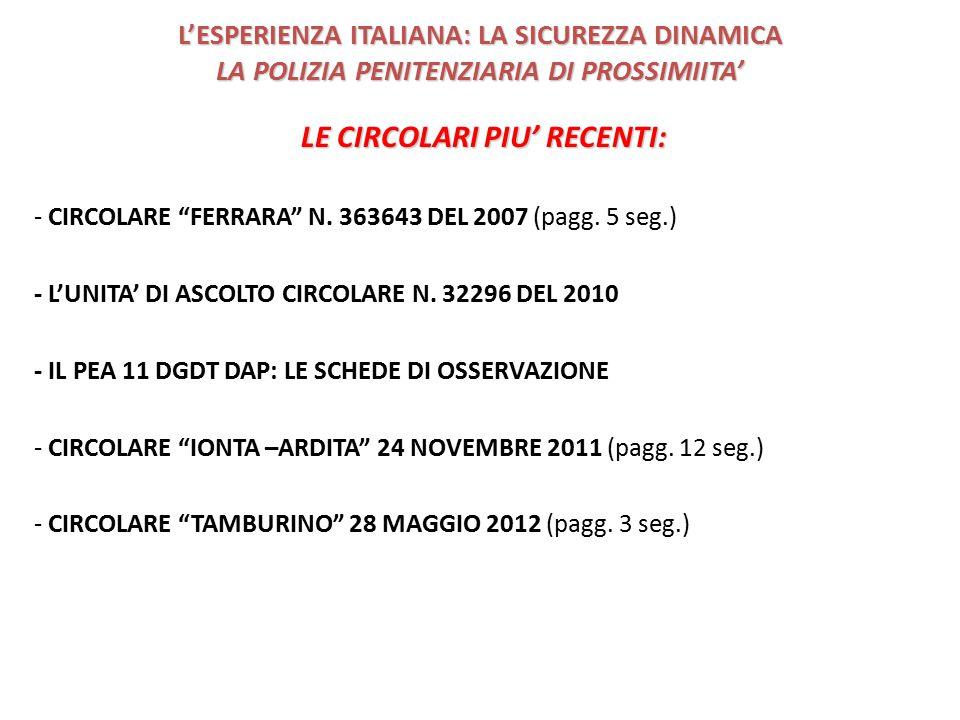 L'ESPERIENZA ITALIANA: LA SICUREZZA DINAMICA LA POLIZIA PENITENZIARIA DI PROSSIMIITA' LE CIRCOLARI PIU' RECENTI: - CIRCOLARE FERRARA N.
