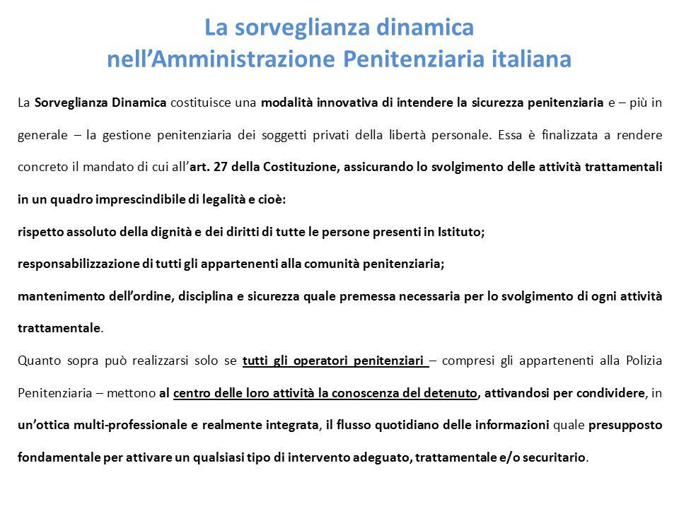 La sorveglianza dinamica nell'Amministrazione Penitenziaria italiana La Sorveglianza Dinamica costituisce una modalità innovativa di intendere la sicurezza penitenziaria e – più in generale – la gestione penitenziaria dei soggetti privati della libertà personale.