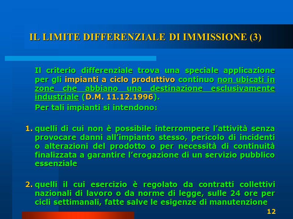 IL LIMITE DIFFERENZIALE DI IMMISSIONE (3) Il criterio differenziale trova una speciale applicazione per gli impianti a ciclo produttivo continuo non u