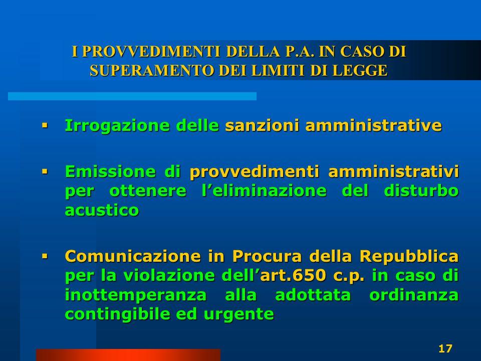 I PROVVEDIMENTI DELLA P.A. IN CASO DI SUPERAMENTO DEI LIMITI DI LEGGE  Irrogazione delle sanzioni amministrative  Emissione di provvedimenti amminis