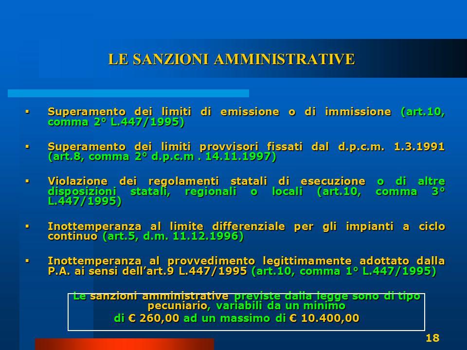 LE SANZIONI AMMINISTRATIVE  Superamento dei limiti di emissione o di immissione (art.10, comma 2° L.447/1995)  Superamento dei limiti provvisori fis