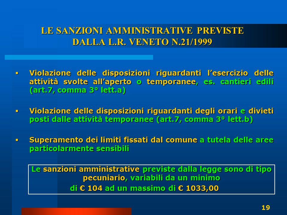 LE SANZIONI AMMINISTRATIVE PREVISTE DALLA L.R. VENETO N.21/1999  Violazione delle disposizioni riguardanti l'esercizio delle attività svolte all'aper