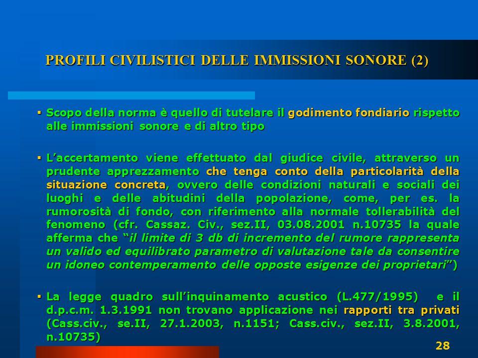 PROFILI CIVILISTICI DELLE IMMISSIONI SONORE (2)  Scopo della norma è quello di tutelare il godimento fondiario rispetto alle immissioni sonore e di a