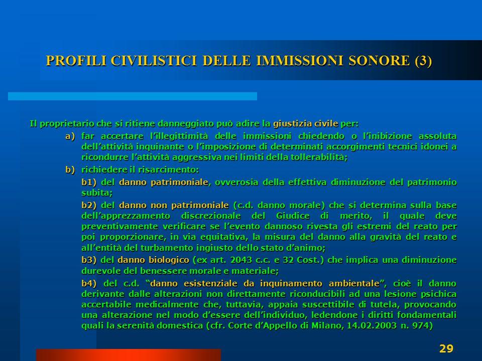 PROFILI CIVILISTICI DELLE IMMISSIONI SONORE (3) Il proprietario che si ritiene danneggiato può adire la giustizia civile per: a)far accertare l'illegi