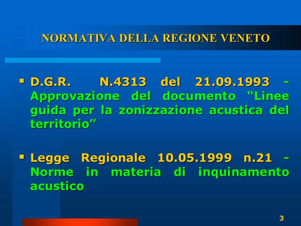 """NORMATIVA DELLA REGIONE VENETO  D.G.R. N.4313 del 21.09.1993 - Approvazione del documento """"Linee guida per la zonizzazione acustica del territorio"""" """