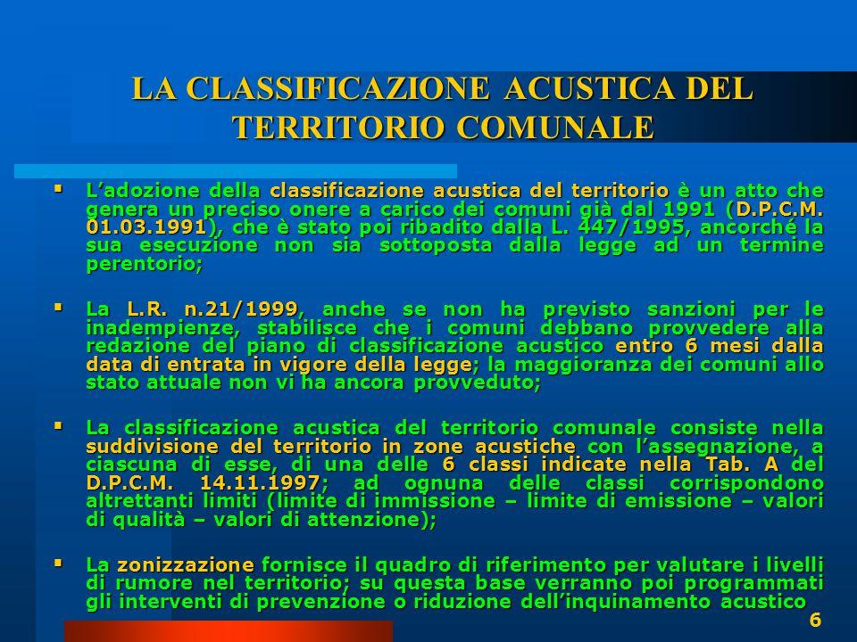 LA CLASSIFICAZIONE ACUSTICA DEL TERRITORIO COMUNALE  L'adozione della classificazione acustica del territorio è un atto che genera un preciso onere a