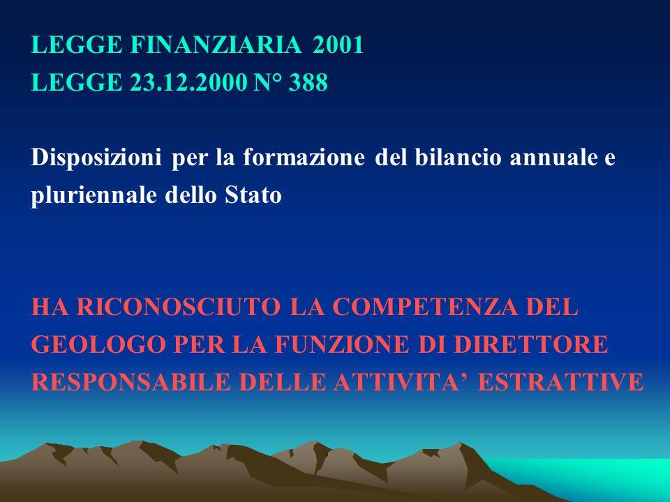 LEGGE FINANZIARIA 2001 LEGGE 23.12.2000 N° 388 Disposizioni per la formazione del bilancio annuale e pluriennale dello Stato HA RICONOSCIUTO LA COMPET