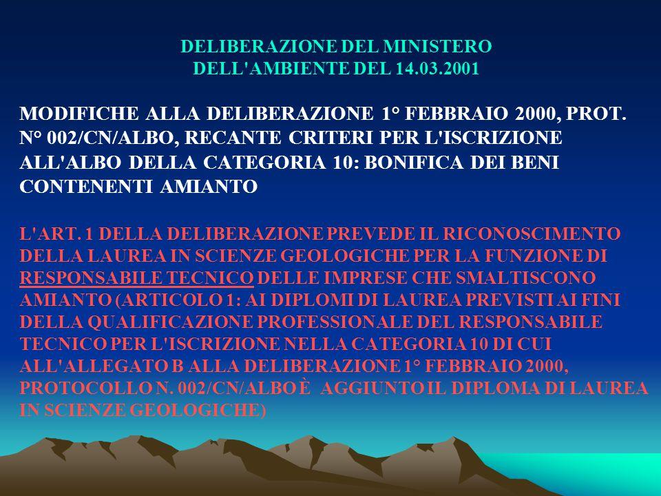 DELIBERAZIONE DEL MINISTERO DELL'AMBIENTE DEL 14.03.2001 MODIFICHE ALLA DELIBERAZIONE 1° FEBBRAIO 2000, PROT. N° 002/CN/ALBO, RECANTE CRITERI PER L'IS