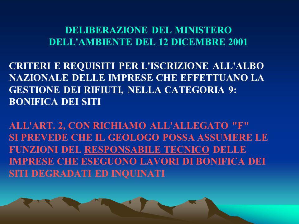 DELIBERAZIONE DEL MINISTERO DELL'AMBIENTE DEL 12 DICEMBRE 2001 CRITERI E REQUISITI PER L'ISCRIZIONE ALL'ALBO NAZIONALE DELLE IMPRESE CHE EFFETTUANO LA