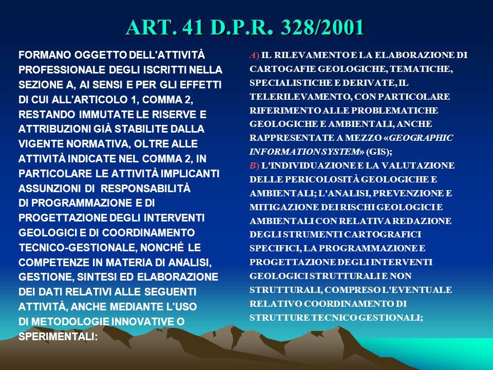 ART. 41 D.P.R. 328/2001 FORMANO OGGETTO DELL'ATTIVITÀ PROFESSIONALE DEGLI ISCRITTI NELLA SEZIONE A, AI SENSI E PER GLI EFFETTI DI CUI ALL'ARTICOLO 1,