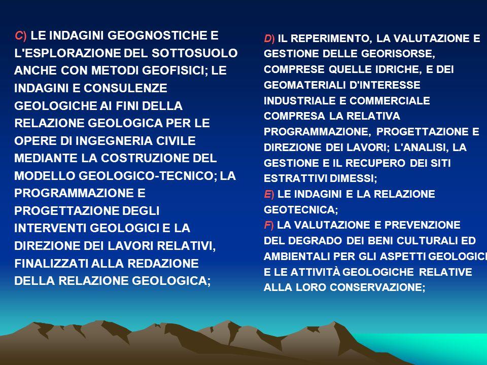 C) LE INDAGINI GEOGNOSTICHE E L'ESPLORAZIONE DEL SOTTOSUOLO ANCHE CON METODI GEOFISICI; LE INDAGINI E CONSULENZE GEOLOGICHE AI FINI DELLA RELAZIONE GE