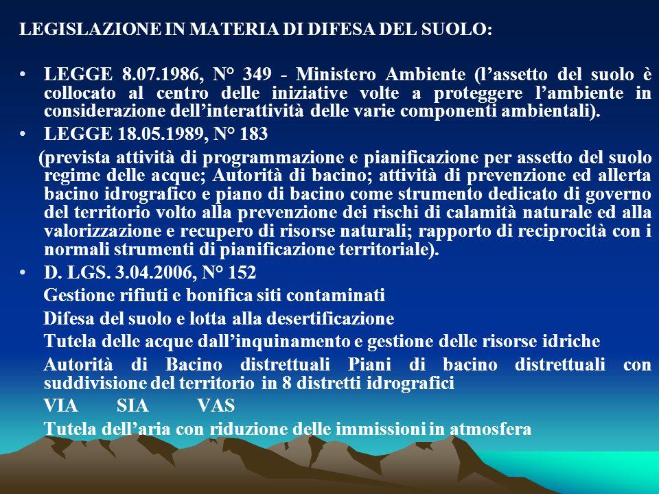 LEGISLAZIONE IN MATERIA DI DIFESA DEL SUOLO: LEGGE 8.07.1986, N° 349 - Ministero Ambiente (l'assetto del suolo è collocato al centro delle iniziative