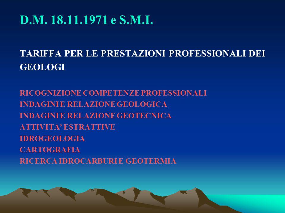 D.M. 18.11.1971 e S.M.I. TARIFFA PER LE PRESTAZIONI PROFESSIONALI DEI GEOLOGI RICOGNIZIONE COMPETENZE PROFESSIONALI INDAGINI E RELAZIONE GEOLOGICA IND