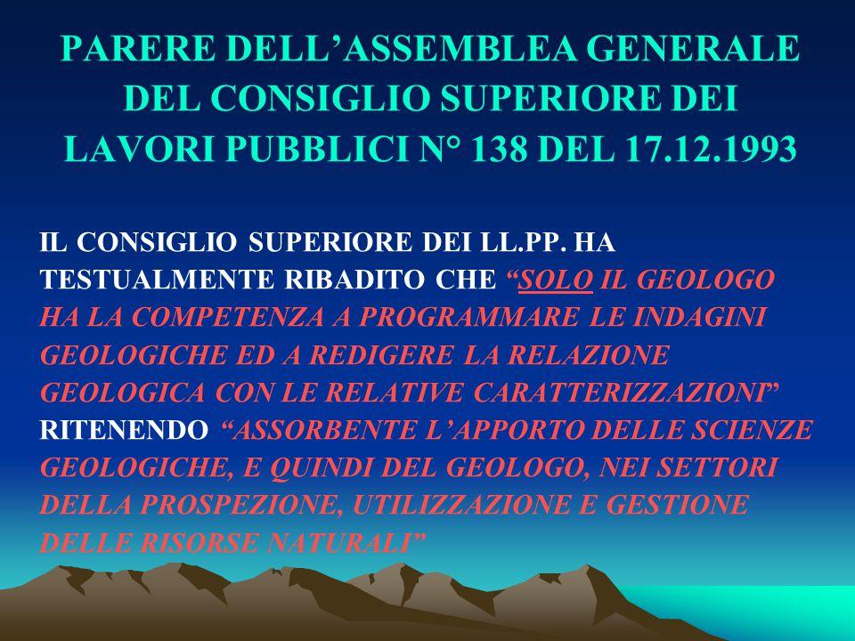 PARERE DELL'ASSEMBLEA GENERALE DEL CONSIGLIO SUPERIORE DEI LAVORI PUBBLICI N° 138 DEL 17.12.1993 IL CONSIGLIO SUPERIORE DEI LL.PP. HA TESTUALMENTE RIB