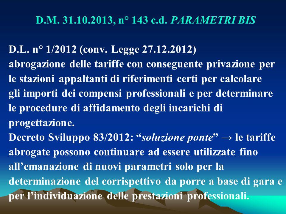 D.M. 31.10.2013, n° 143 c.d. PARAMETRI BIS D.L. n° 1/2012 (conv. Legge 27.12.2012) abrogazione delle tariffe con conseguente privazione per le stazion
