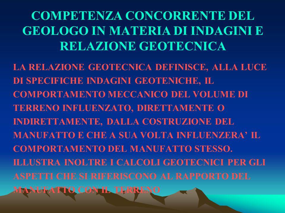COMPETENZA CONCORRENTE DEL GEOLOGO IN MATERIA DI INDAGINI E RELAZIONE GEOTECNICA LA RELAZIONE GEOTECNICA DEFINISCE, ALLA LUCE DI SPECIFICHE INDAGINI G