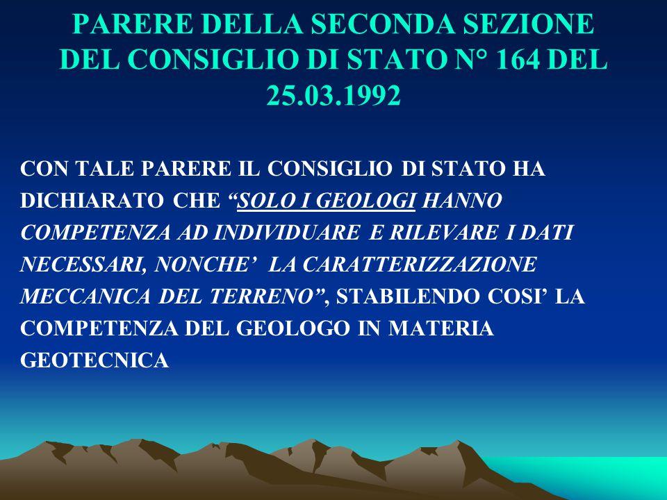 """PARERE DELLA SECONDA SEZIONE DEL CONSIGLIO DI STATO N° 164 DEL 25.03.1992 CON TALE PARERE IL CONSIGLIO DI STATO HA DICHIARATO CHE """"SOLO I GEOLOGI HANN"""