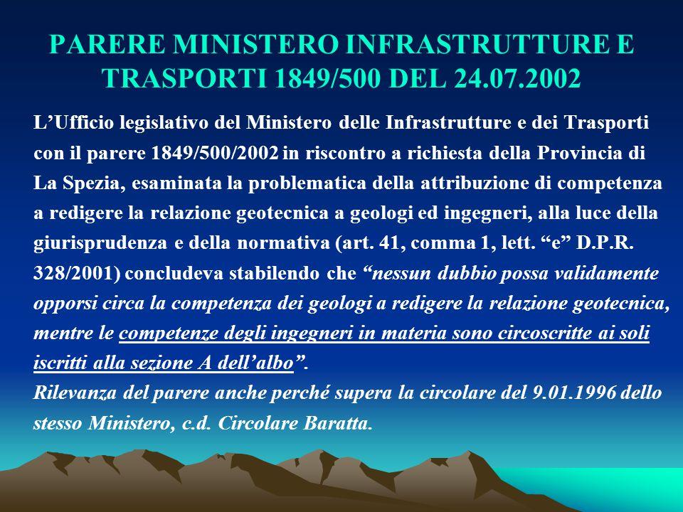 PARERE MINISTERO INFRASTRUTTURE E TRASPORTI 1849/500 DEL 24.07.2002 L'Ufficio legislativo del Ministero delle Infrastrutture e dei Trasporti con il pa