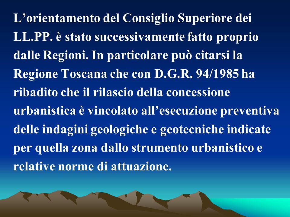 L'orientamento del Consiglio Superiore dei LL.PP. è stato successivamente fatto proprio dalle Regioni. In particolare può citarsi la Regione Toscana c