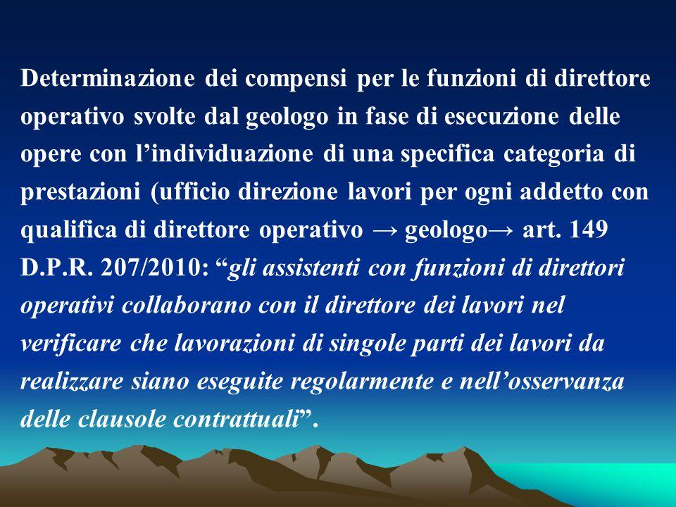 Determinazione dei compensi per le funzioni di direttore operativo svolte dal geologo in fase di esecuzione delle opere con l'individuazione di una sp