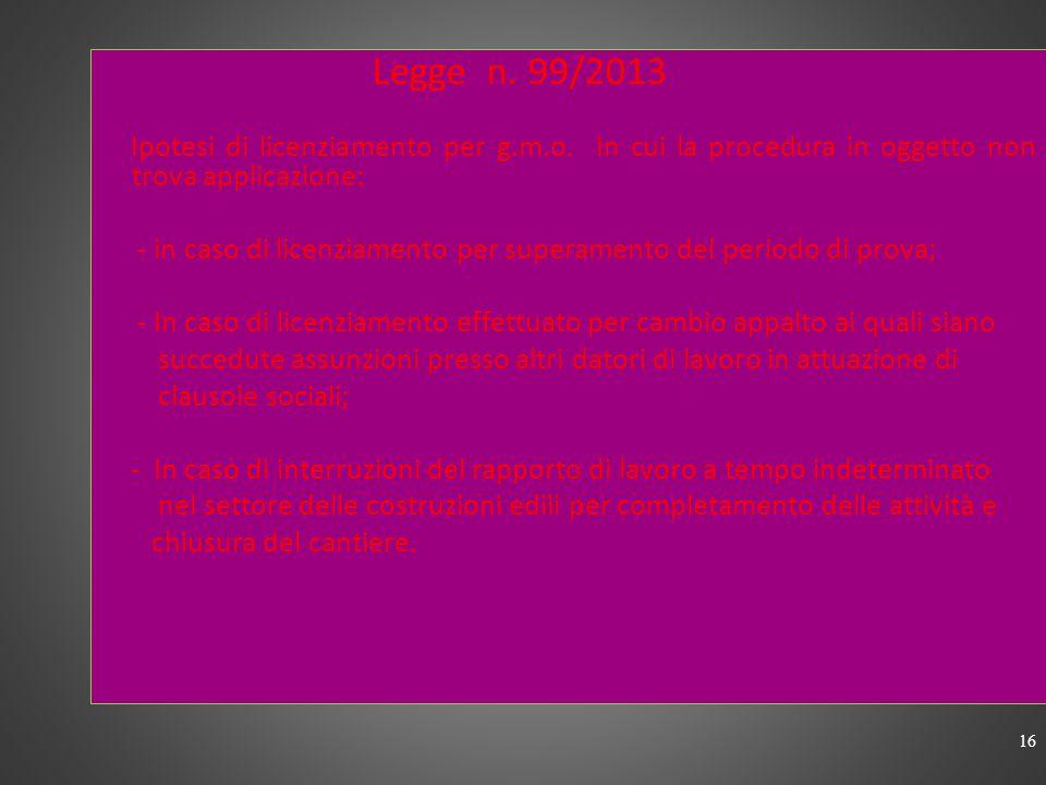 CHIARIMENTI CIRC. MIN.LE n.3 /2013 Altre ipotesi di licenziamento per g.m.o. : - Inidoneità fisica; - Impossibilità di repechage nello stesso gruppo d