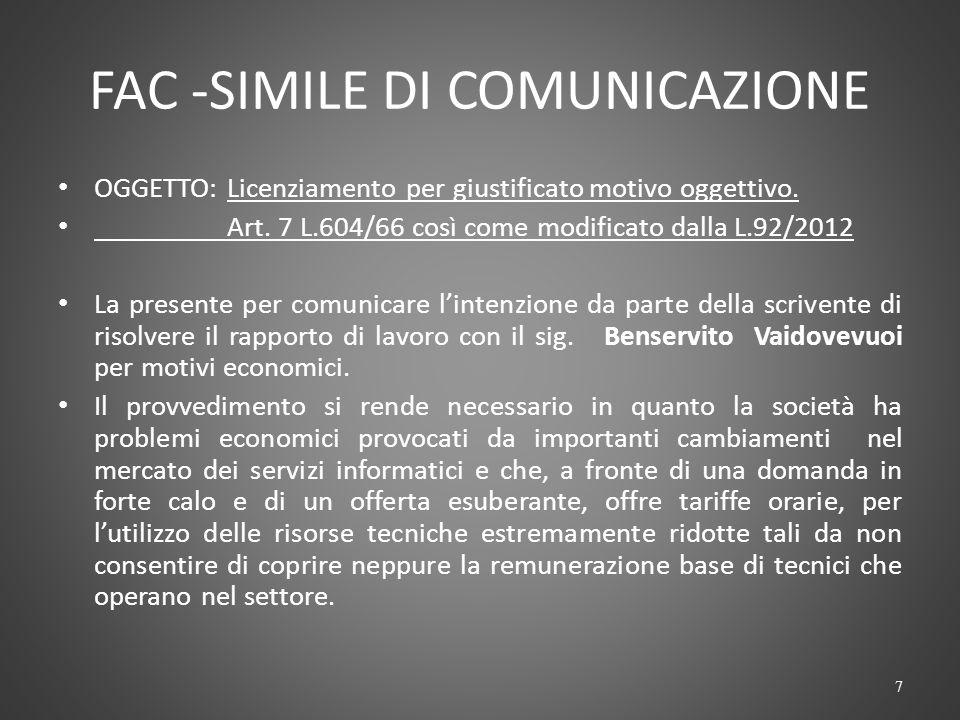 FAC -SIMILE DI COMUNICAZIONE OGGETTO: Licenziamento per giustificato motivo oggettivo.