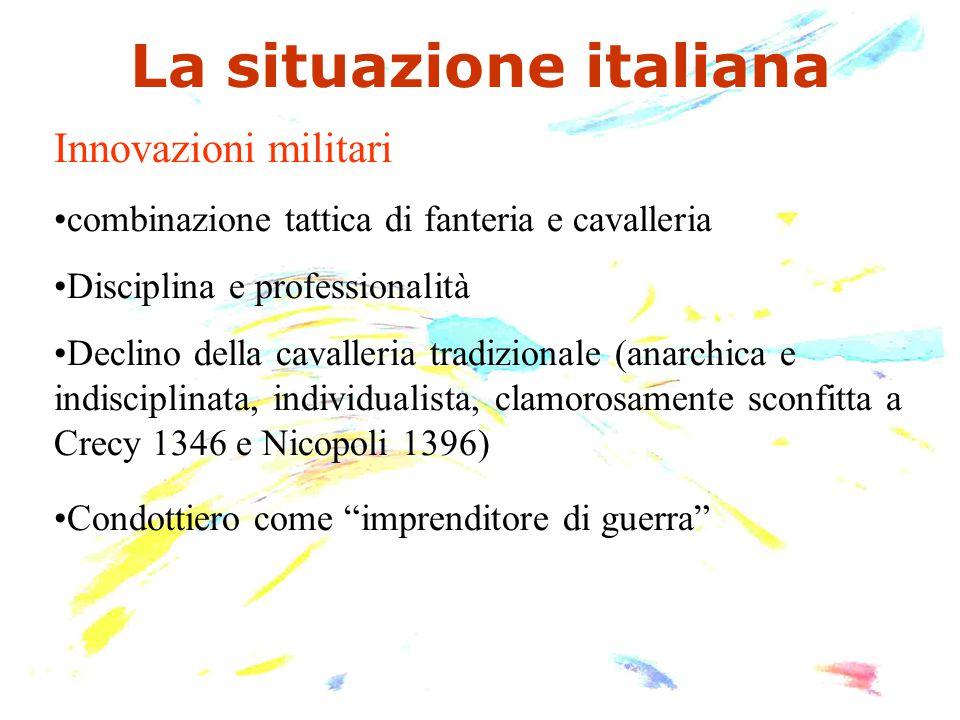 La situazione italiana Innovazioni militari combinazione tattica di fanteria e cavalleria Disciplina e professionalità Declino della cavalleria tradiz