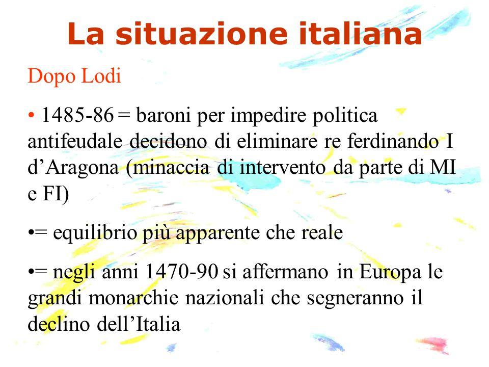 La situazione italiana Dopo Lodi 1485-86 = baroni per impedire politica antifeudale decidono di eliminare re ferdinando I d'Aragona (minaccia di inter