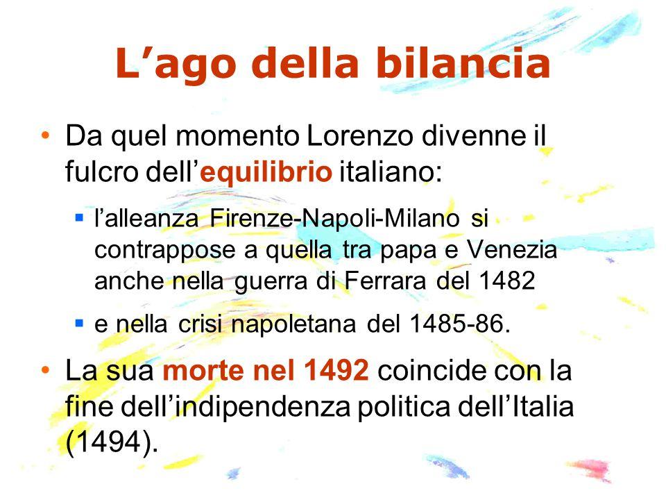 L'ago della bilancia Da quel momento Lorenzo divenne il fulcro dell'equilibrio italiano:  l'alleanza Firenze-Napoli-Milano si contrappose a quella tr