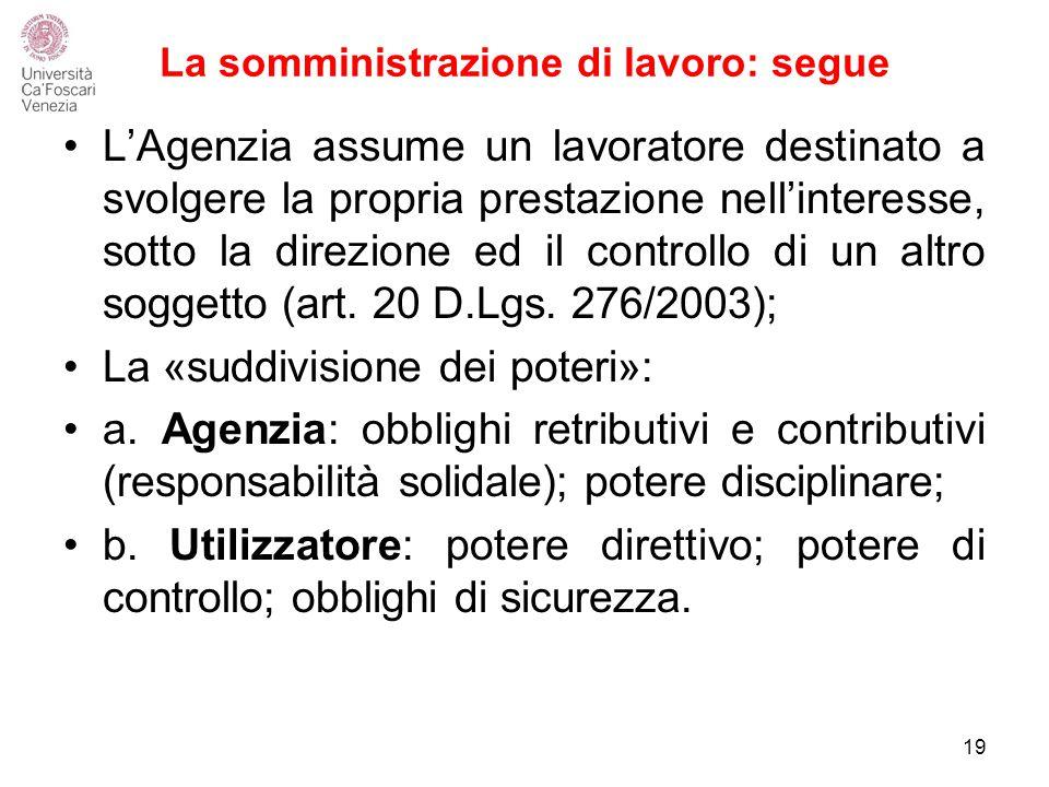 La somministrazione di lavoro: segue L'Agenzia assume un lavoratore destinato a svolgere la propria prestazione nell'interesse, sotto la direzione ed il controllo di un altro soggetto (art.