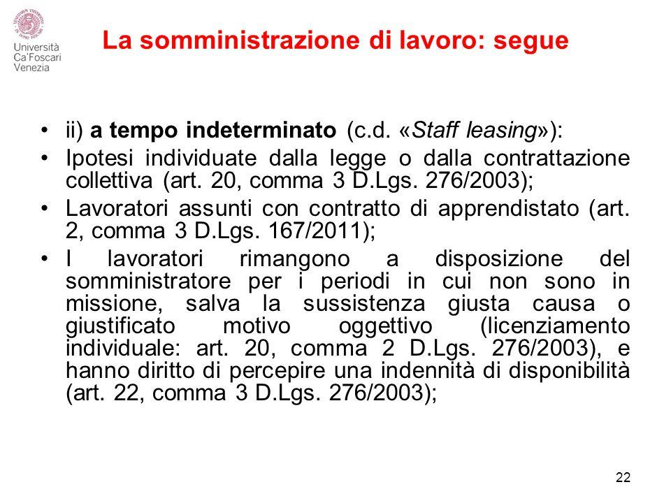 La somministrazione di lavoro: segue ii) a tempo indeterminato (c.d.