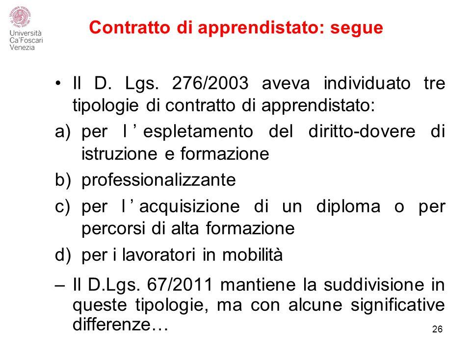 Contratto di apprendistato: segue Il D.Lgs.