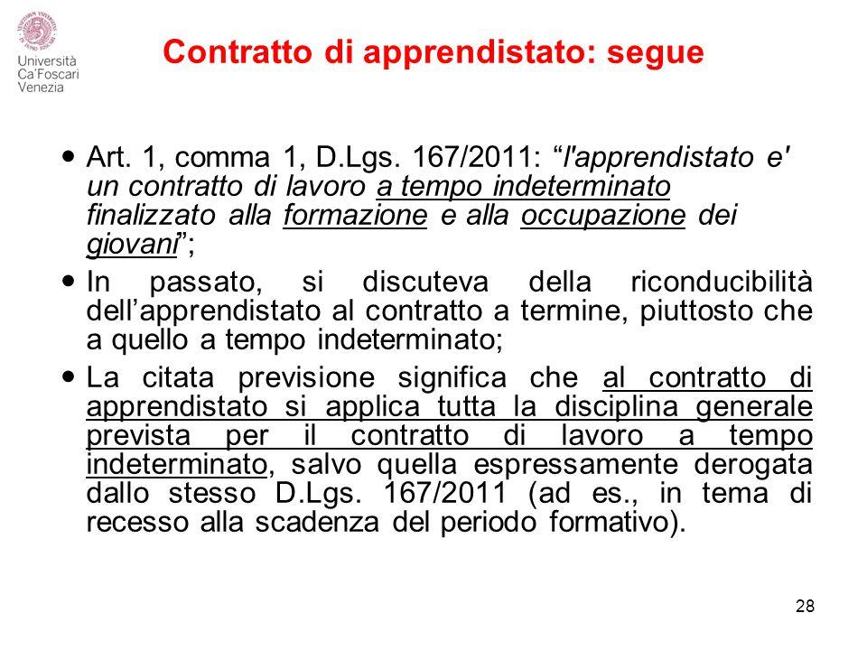 Contratto di apprendistato: segue Art.1, comma 1, D.Lgs.