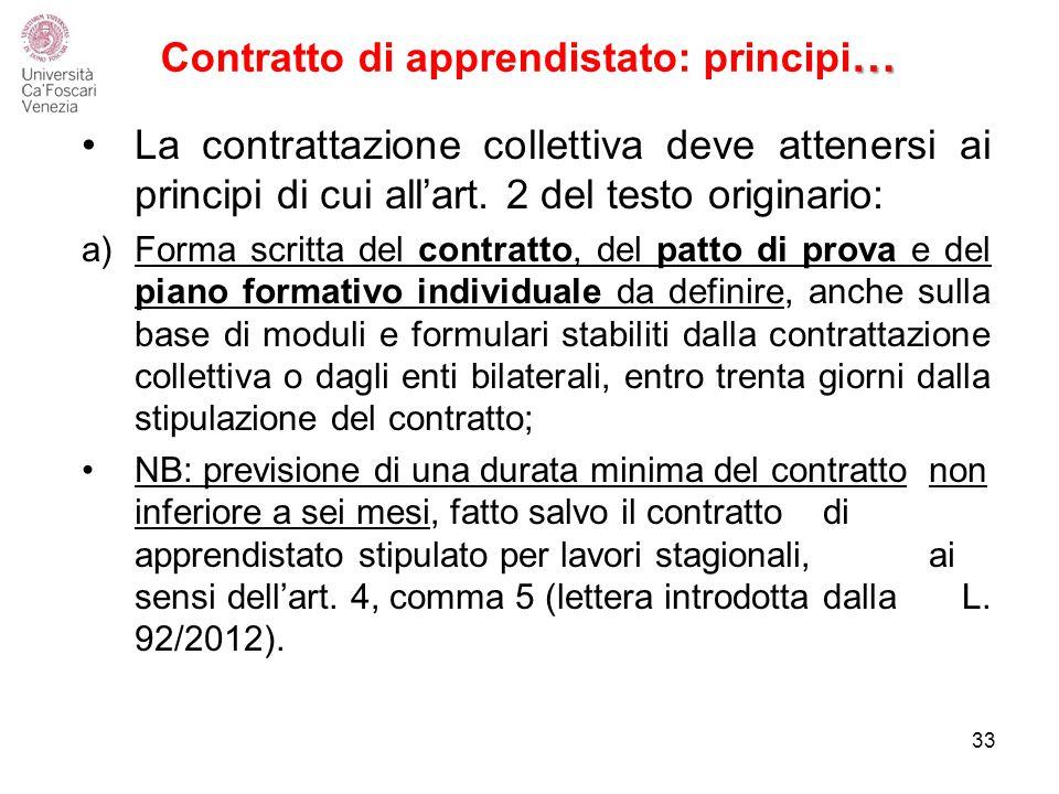 … Contratto di apprendistato: principi … La contrattazione collettiva deve attenersi ai principi di cui all'art.