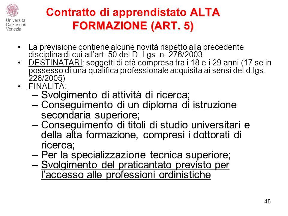 ALTA FORMAZIONE (ART.5) Contratto di apprendistato ALTA FORMAZIONE (ART.