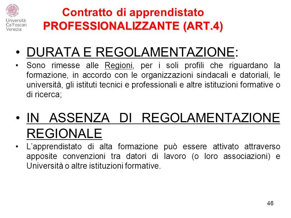 PROFESSIONALIZZANTE (ART.4) Contratto di apprendistato PROFESSIONALIZZANTE (ART.4) DURATA E REGOLAMENTAZIONE: Sono rimesse alle Regioni, per i soli profili che riguardano la formazione, in accordo con le organizzazioni sindacali e datoriali, le università, gli istituti tecnici e professionali e altre istituzioni formative o di ricerca; IN ASSENZA DI REGOLAMENTAZIONE REGIONALE L'apprendistato di alta formazione può essere attivato attraverso apposite convenzioni tra datori di lavoro (o loro associazioni) e Università o altre istituzioni formative.