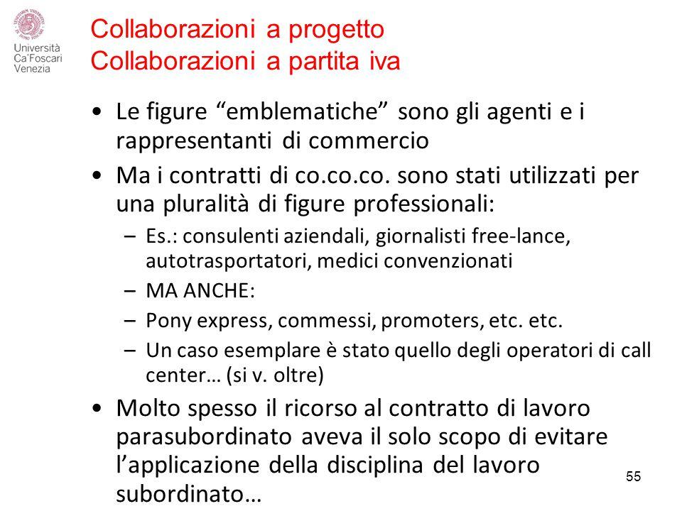 Collaborazioni a progetto Collaborazioni a partita iva Le figure emblematiche sono gli agenti e i rappresentanti di commercio Ma i contratti di co.co.co.