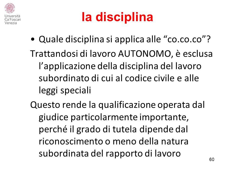 la disciplina Quale disciplina si applica alle co.co.co .