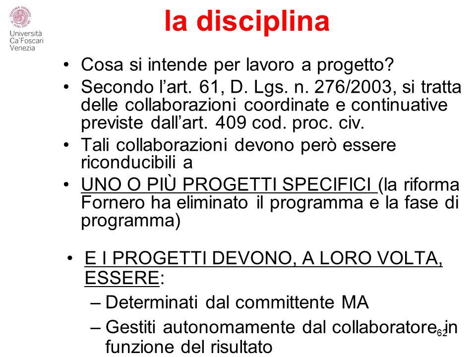 la disciplina Cosa si intende per lavoro a progetto.