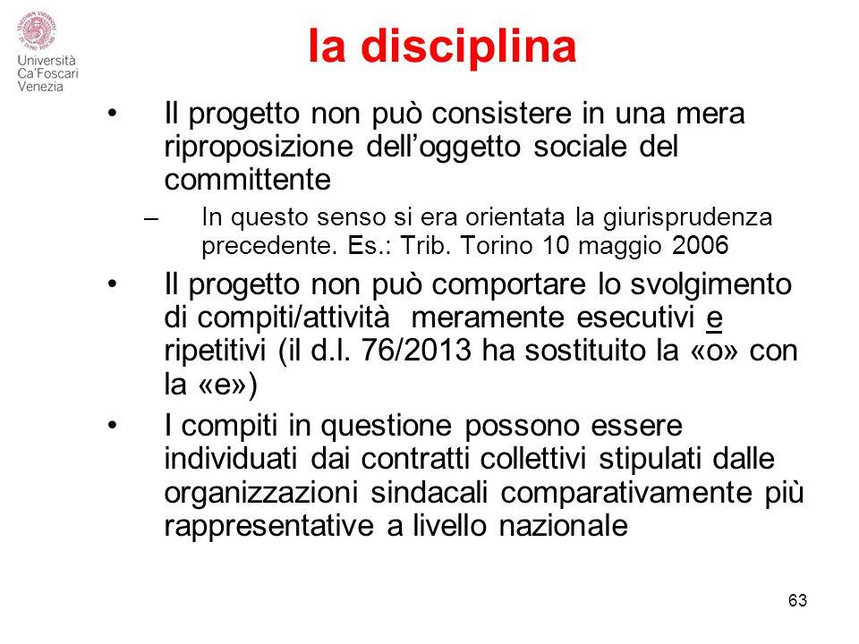la disciplina Il progetto non può consistere in una mera riproposizione dell'oggetto sociale del committente –In questo senso si era orientata la giurisprudenza precedente.