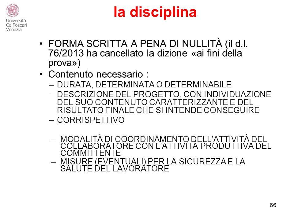 la disciplina FORMA SCRITTA A PENA DI NULLITÀ (il d.l.