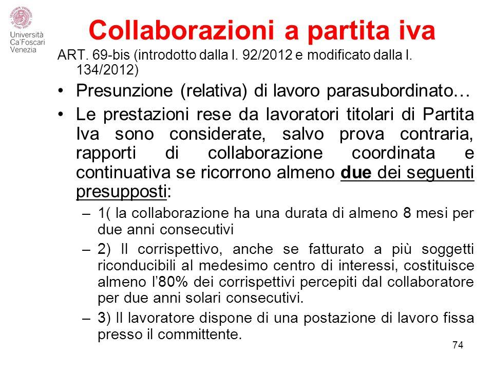 Collaborazioni a partita iva ART.69-bis (introdotto dalla l.
