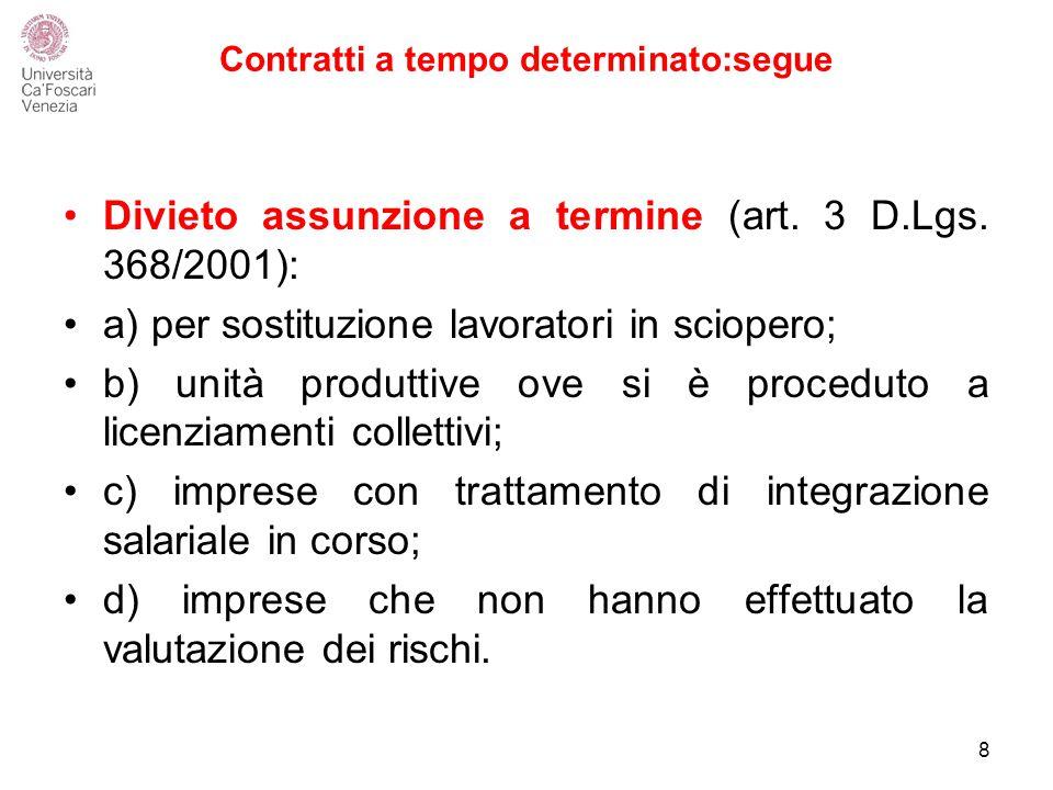 Contratti a tempo determinato:segue Divieto assunzione a termine (art.
