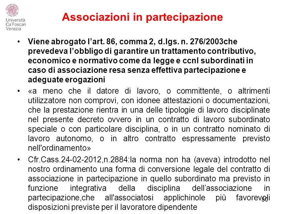 Associazioni in partecipazione 80 Viene abrogato l'art.