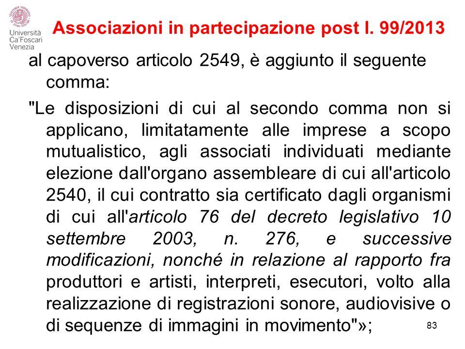 Associazioni in partecipazione post l.