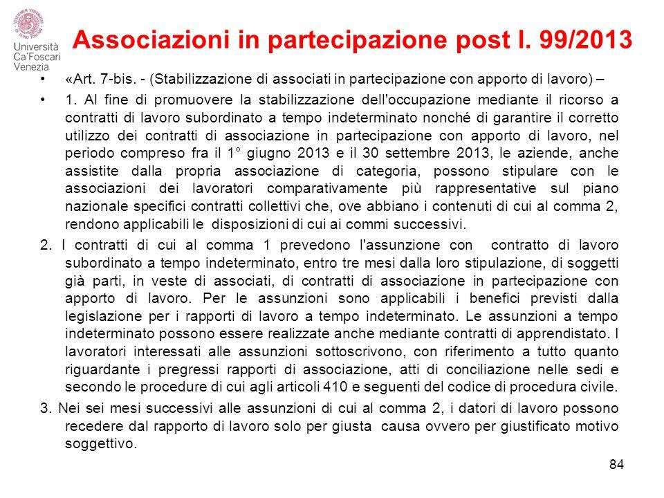 Associazioni in partecipazione post l.99/2013 84 «Art.
