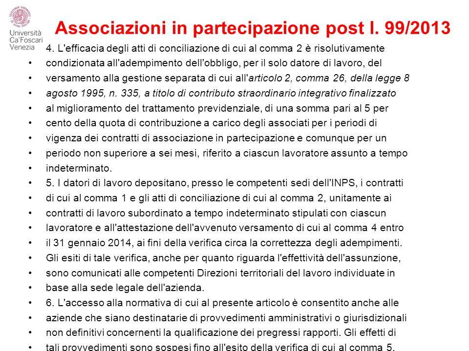 Associazioni in partecipazione post l.99/2013 4.