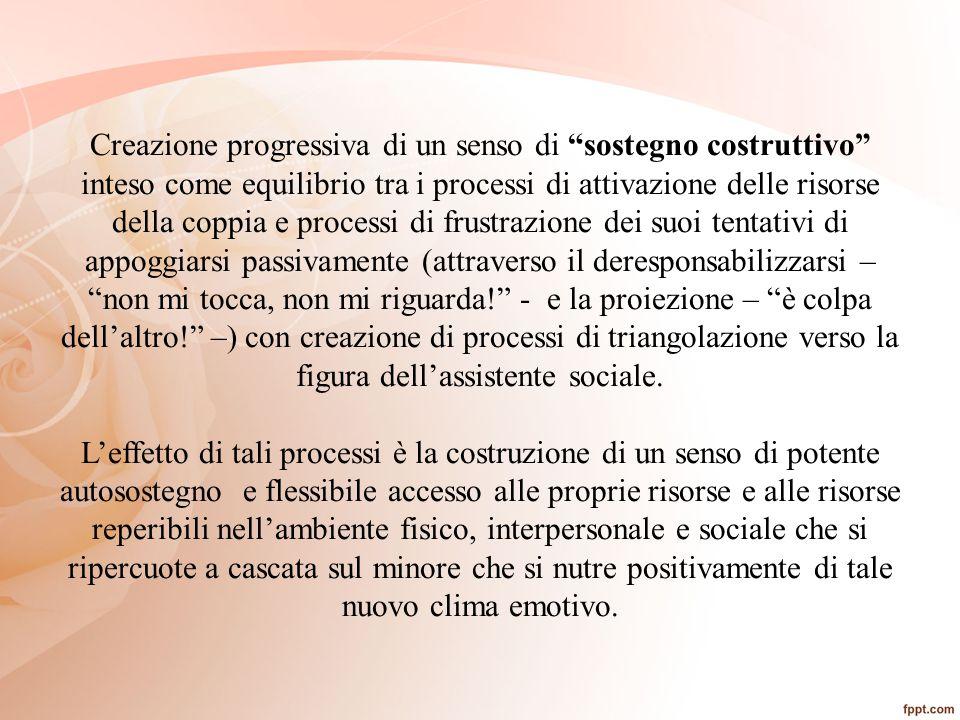 """Creazione progressiva di un senso di """"sostegno costruttivo"""" inteso come equilibrio tra i processi di attivazione delle risorse della coppia e processi"""